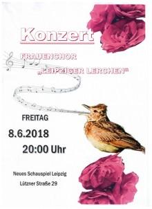 Konzert der Leipziger Lerchen im Neuen Schauspiel am 8. Juni um 20 Uhr  