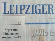 LVZ, 19. Februar 2021: Ärger um Lindenauer Wochenmarkt | LVZ, 19.02.2021