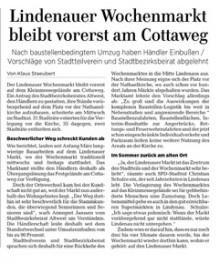 LVZ, 22. April 2021: Lindenauer Wochenmarkt bleibt vorerst am Cottaweg | LVZ, 22. April 2021: Lindenauer Wochenmarkt bleibt vorerst am Cottaweg